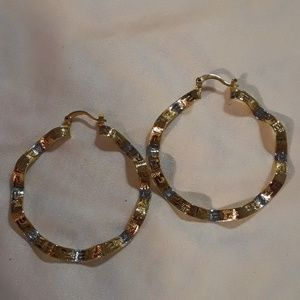 Gorgeous pair of gold hoops.